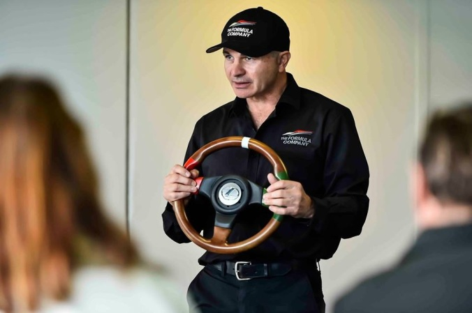 Mike teaching correct steering techniques within a Corporate Driver Training class.
