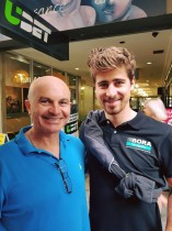 Mike with World Champion Peter Sagan at 2018 Tour Down Under, Adelaide.